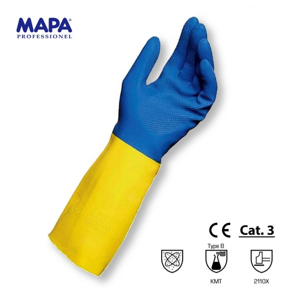 BICOLORE DUO MIX Guanti giallo/blu latex neoprene felpati